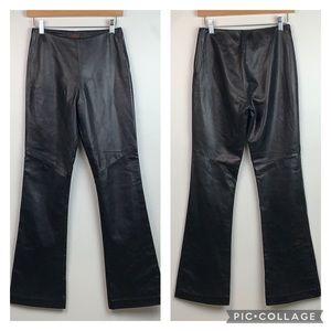 Danier glove leather black flared dress pants EUC